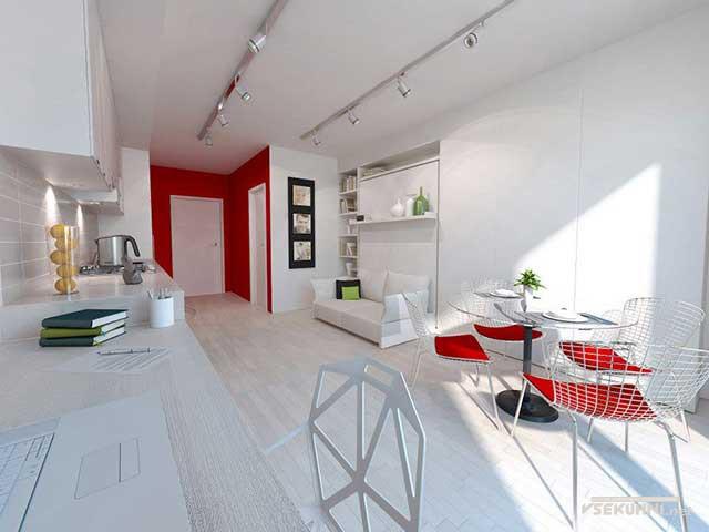 Вариант оформления мягкой мебелью малогабаритной кухонной зоны