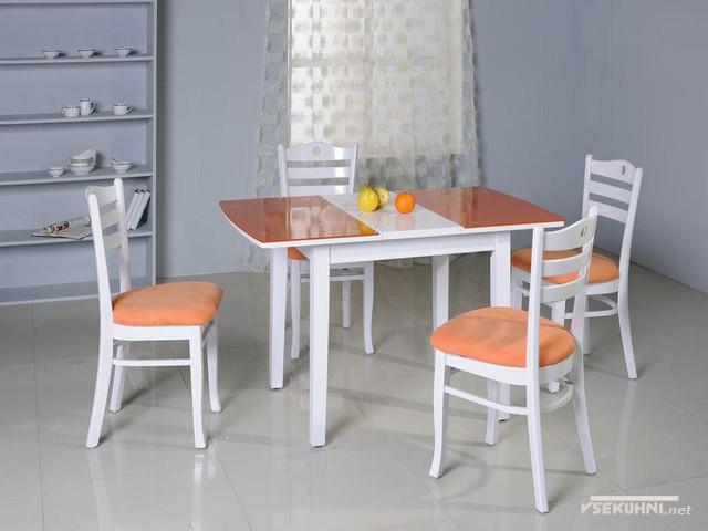 Стеклянный стол-трансформер для кухни - фото