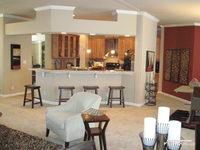Кухня студия с барной стойкой в большом помещении