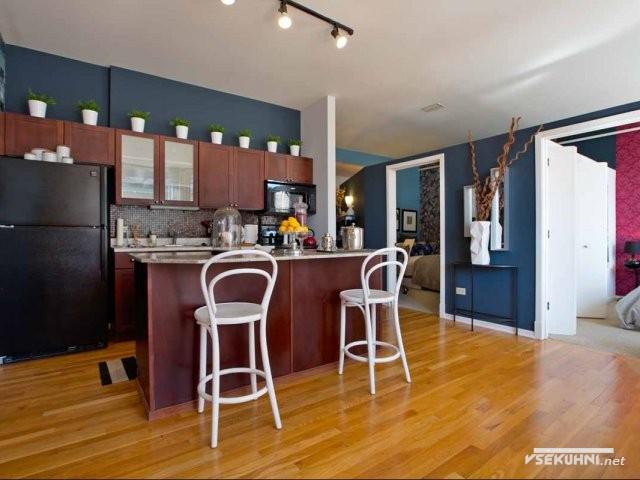 Кухня студия с барной стойкой и выскоими стульями