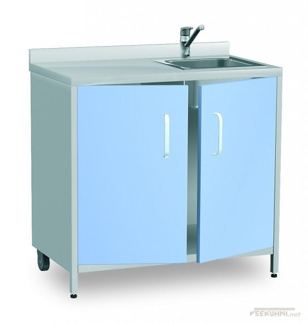 Кухонная мойка с тумбой в голубом цвете