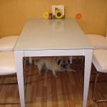 Белая обеденная группа для кухни со стеклянным столом
