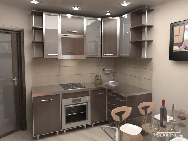 Модульная мебель для кухни в коричневом цвете
