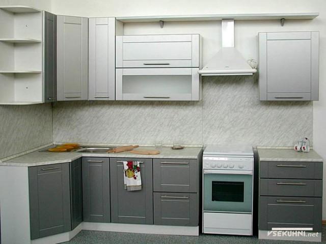 Модульная мебель для кухни эконом серого цвета