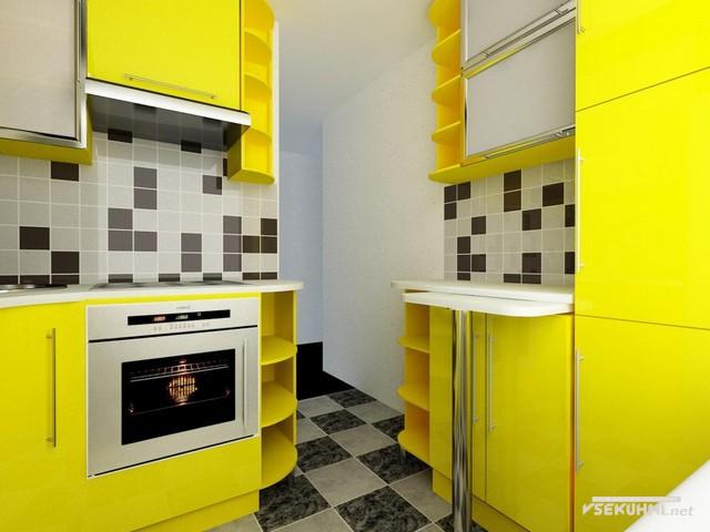 Угловая мебель для маленькой кухни в желтом цвете