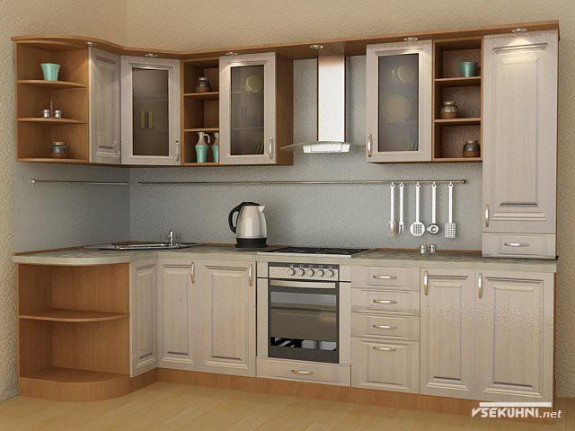 Угловая мебель для кухни в бежевом цвете