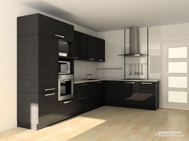 Черная мебель для кухни угловая