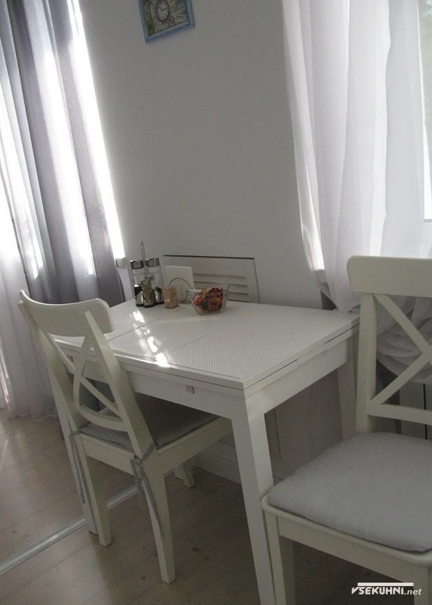 Интерьер белой угловой кухни 6 кв м - фото