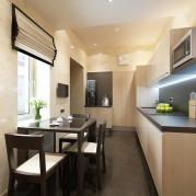 Дизайн 9 метровой кухни в бежевом цвете - фото
