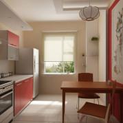 Дизайн 9 метровой кухни в красном цвете - фото