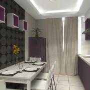 Дизайн 9 метровой кухни в фиолетовом цвете - фото